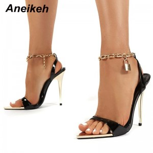 Aneikeh 2021 Summer Thin High Heels Women's Shoes Fashion Sexy Metal Decoratio Cross-Tied Retro Patchwork Head Peep Toe Sandals