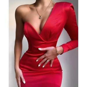 Bodycon Women Winter Dress 2021 Sexy Single Sleeve V Neck Red White Designer Fashion Evening Party Club Bandage Dress Vestido