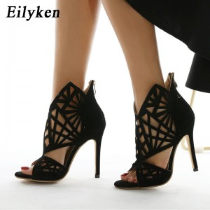 Eilyken Roma Style Summer GladiatorBoots Women Sandals Fashion Open Toe After Zip Stilettos High Heels Ladies Shoes Size 35-42