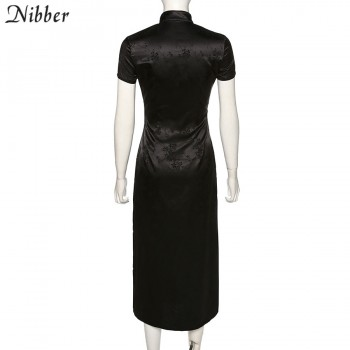 NIBBER black party long dresses women short sleeve high-neck dress chinese style new year vacation elegant sexy style 2020