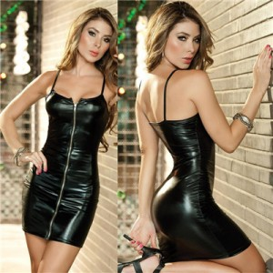 PU Leather Dress Bodycon Midi Office Dress Black Sexy Club Pencil Party Dresses Rose Blue Black