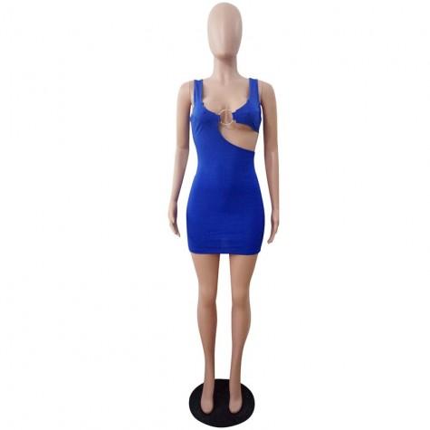 f89d9b3d416 Sexy Party Dresses Sleeveless Hollow Out Night Club Bodycon Dress Blue  Black Burgundy ...