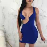 Sexy Party Dresses Sleeveless Hollow Out Night Club Bodycon Dress Blue Black Burgundy