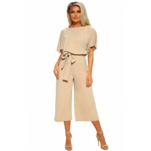 Apricot Always Chic Belted Culotte Jumpsuit