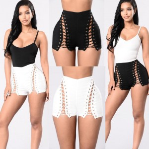 Beach Summer Shorts Black White Belt High Waist Women Ladies Tassel Floral Print
