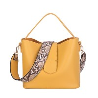 Casual Pu Bucket Bag Women Handbags Serpentine Strap Shoulder Bag Yellow Black White