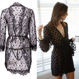Lingerie Sleepwear Lace Teddy Women Babydoll Nightwear Black