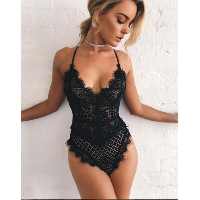 Sexy Women Solid Color Hot Ladies Jumpsuits Spaghetti Strap Hollow Out Lace Playsuits Bodysuit Black Pink Red White