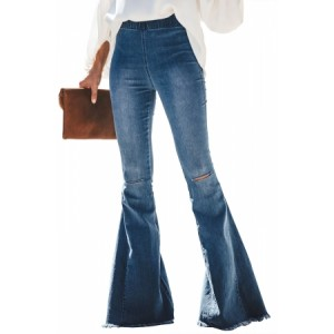 Sky Blue Distressed Bell Bottom Denim Pants