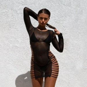 BKLD Summer Sheer Mesh Bodycon Dress Sexy Long Sleeve Bandage Hollow Out Womens Dresses Fishnet See Through Club Wear Mini Dress