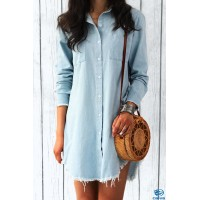 Long Sleeve Denim Shirts Dress Blue Gray Green