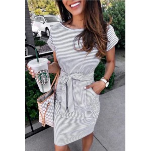 Navy Stripes Pocketed T-shirt Dress with Belt Gray Black White