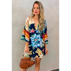 Multicolor V Neck Bell Sleeve Floral Short Dress