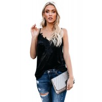 Black Whimsical Velvet Cami Tank