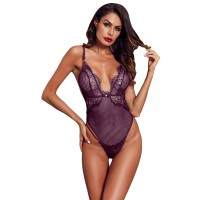 Purple Striped Mesh Bodysuit