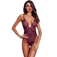 Wine Red Striped Mesh Bodysuit
