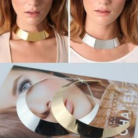European Gold Silver Plated Punk Curved Mirrored Metal Torques Collar Necklaces