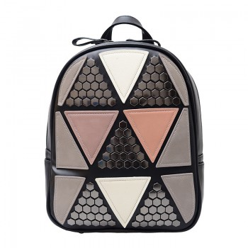 Preppy Style Backpack Geometric Patchwork Female School Bags High Quality PU Leather Daypacks Black Pink