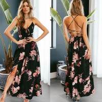 V Neck Spaghetti Straps Floral Printed Dresses Lace up Backless Slit Side Long Maxi Dress Black Red Burgundy