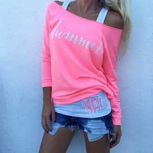 Women Summer off Shoulder Tops Loose Top Long Sleeve Ladies Casual Tee Pink