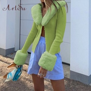 Artsu Ribbed Knitted Cardigans Sweaters With Fur Trim Collar Long Sleeve Slim Autumn Winter Jumpers Women Knitwear 42015