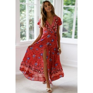 Red V-Neck Beach Resort Printed Dress Blue