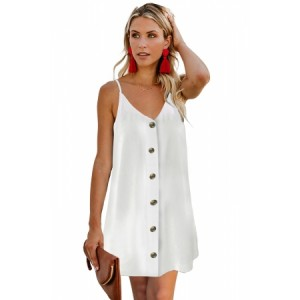 White Buttoned Slip Dress Black