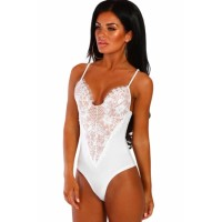 White Forever Flawless Red Lace Bodysuit Black