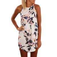 White Sleeveless Summer Floral Print Dress Blue