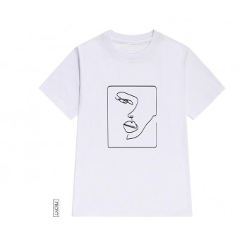 face abstract simple Women tshirt Cotton Casual Funny t shirt Gift For Lady Yong Girl Top Tee