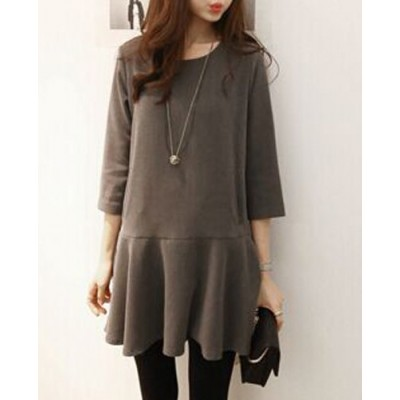 Brief Style Scoop Neck 3/4 Sleeve Solid Color Flounced Dress For Women - Gray