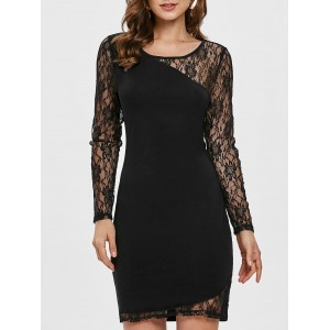 Floral Lace Panel Bodycon Dress - Black