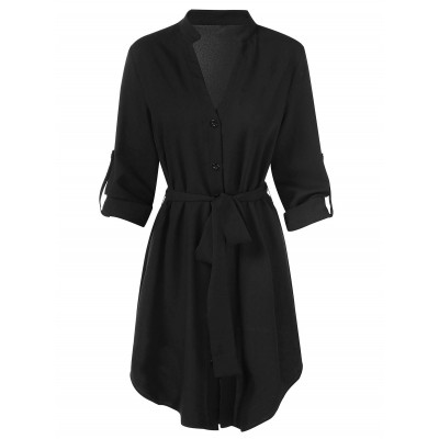 Full Sleeve Button Up Dress - Black