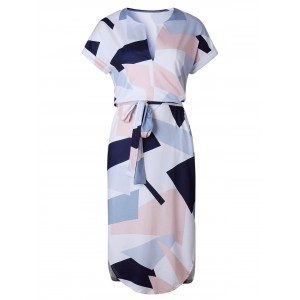 Geometric Print Short Sleeve Midi Dress - White