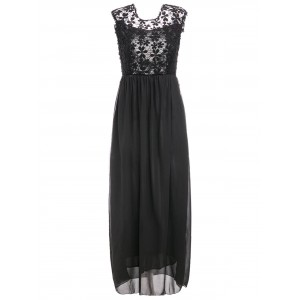 Hollow Out Design Sleeveless Round Collar Backless Maxi Dress For Women - Black