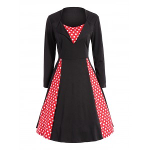 Polka Dot Insert Vintage Swing Dress - Black And Red