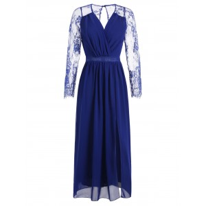 Raglan Sleeve Lace Panel Wrap Dress - Blueberry Blue