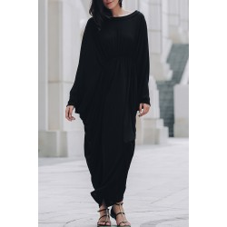 Stylish Batwing Sleeve Round Neck Loose-Fitting Maxi Dress For Women - Black