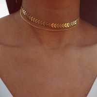 Necklace Women Long Dangle Necklace Jewelry Fish Bone Chain Silver Gold