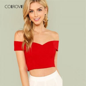 Red Elegant Workwear Sweetheart Slim Crop Top Fold Over Bardot Sleeveless