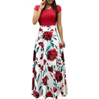 Summer Long Dress Floral Print Bohemian Beach Maxi Dress Casual Patchwork Short Sleeve Red Pink Black Green