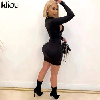 Kliou Lace Up Hollow Out Sexy Bikini Dress Women Bodycon Mock Neck Striped Bra Zipper Solid Skinny Party Clubwear Mini Dresses