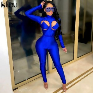 Kliou Patchwork Sexy Jumpsuit Women Autumn Turtleneck Full Sleeve Skinny Rompers Female Hot Overoll Shiny Party Streetwear 2021