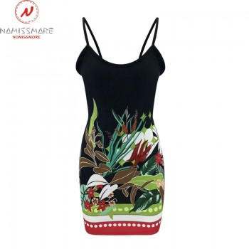 Sexy Women Summer Bodycon Pencil Dress Hollow Out Design Bow Decor Sling Sleeveless Backless Print Slim Hips Mini Dress