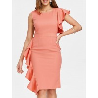 Asymmetric Sleeve Lace Insert Ruffle Dress - Orange Pink