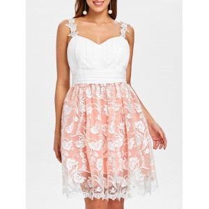 Embroidered Mesh Overlay Skater Dress - White
