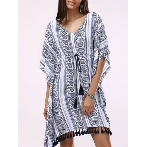 Fashionable Drawstring Printing Batwing V-Neck Dress For Woman