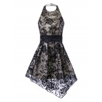 Halter Backless Floral Asymmetrical Dress - Black