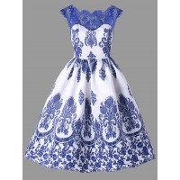 Lace Trim Porcelain Floral Swing Dress - Blue