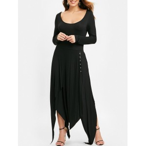 Long Sleeve Handkerchief Swing Dress - Black